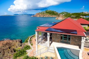 luxury Caribbean villa with alternative energy solar panels